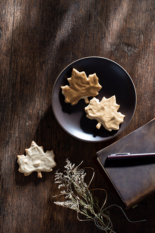 Maple Leaf Glazed Autumn Cookies Stock Food Photo