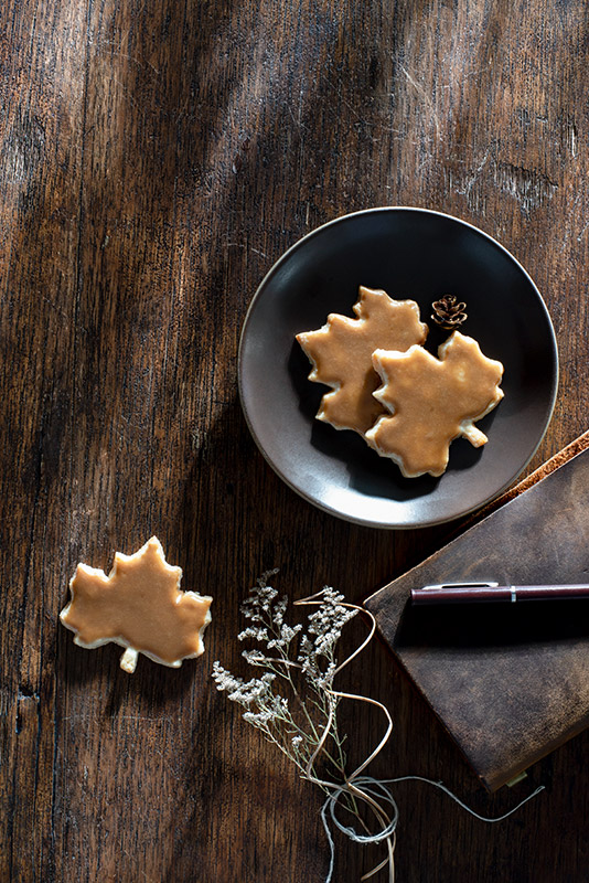Maple Leaf Autumn Cookies Stock Food Photo