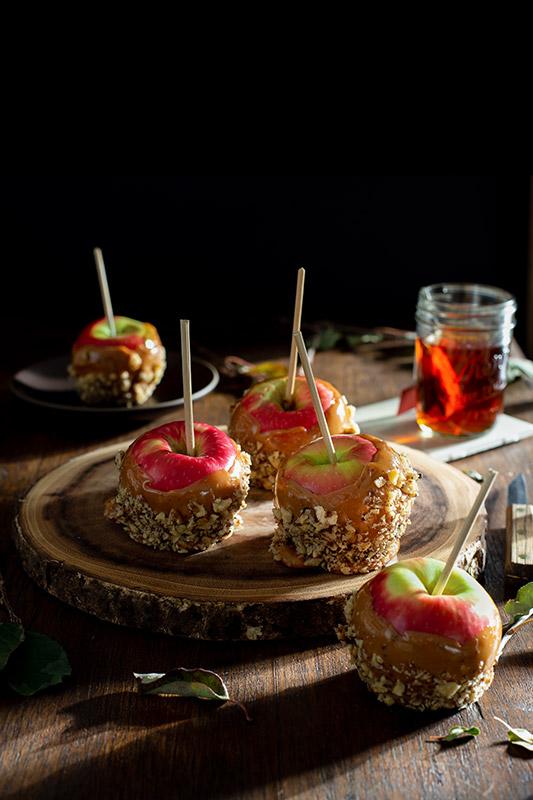 Caramel Apples in a Rustic Farmhouse Stock Food Photo