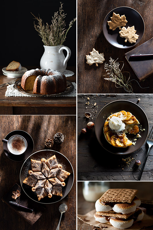 Autumn Cakes, Tarte Tatin, Smores and Cookies Stock Food Photos