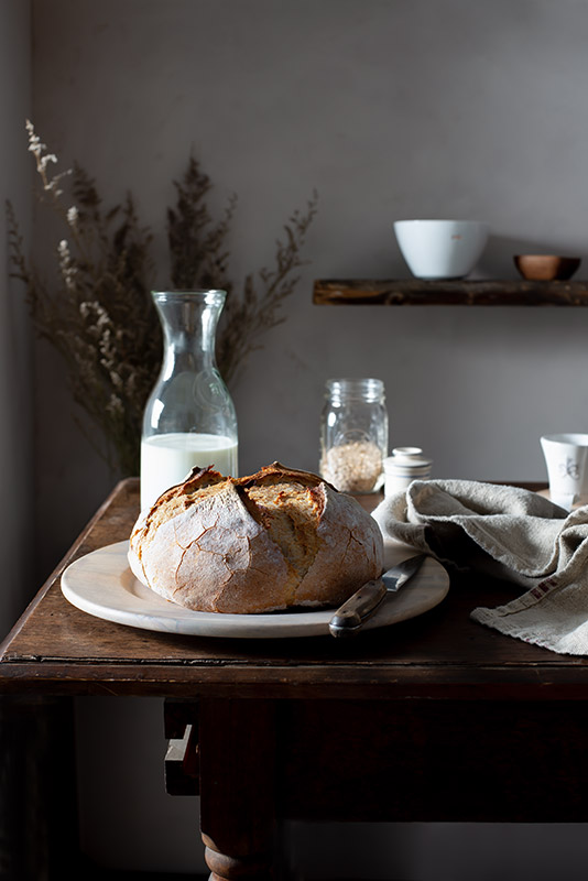 Freshly Baked Artisan Crusty Bread in a Rustic Farmhouse Kitchen Stock Food Photo
