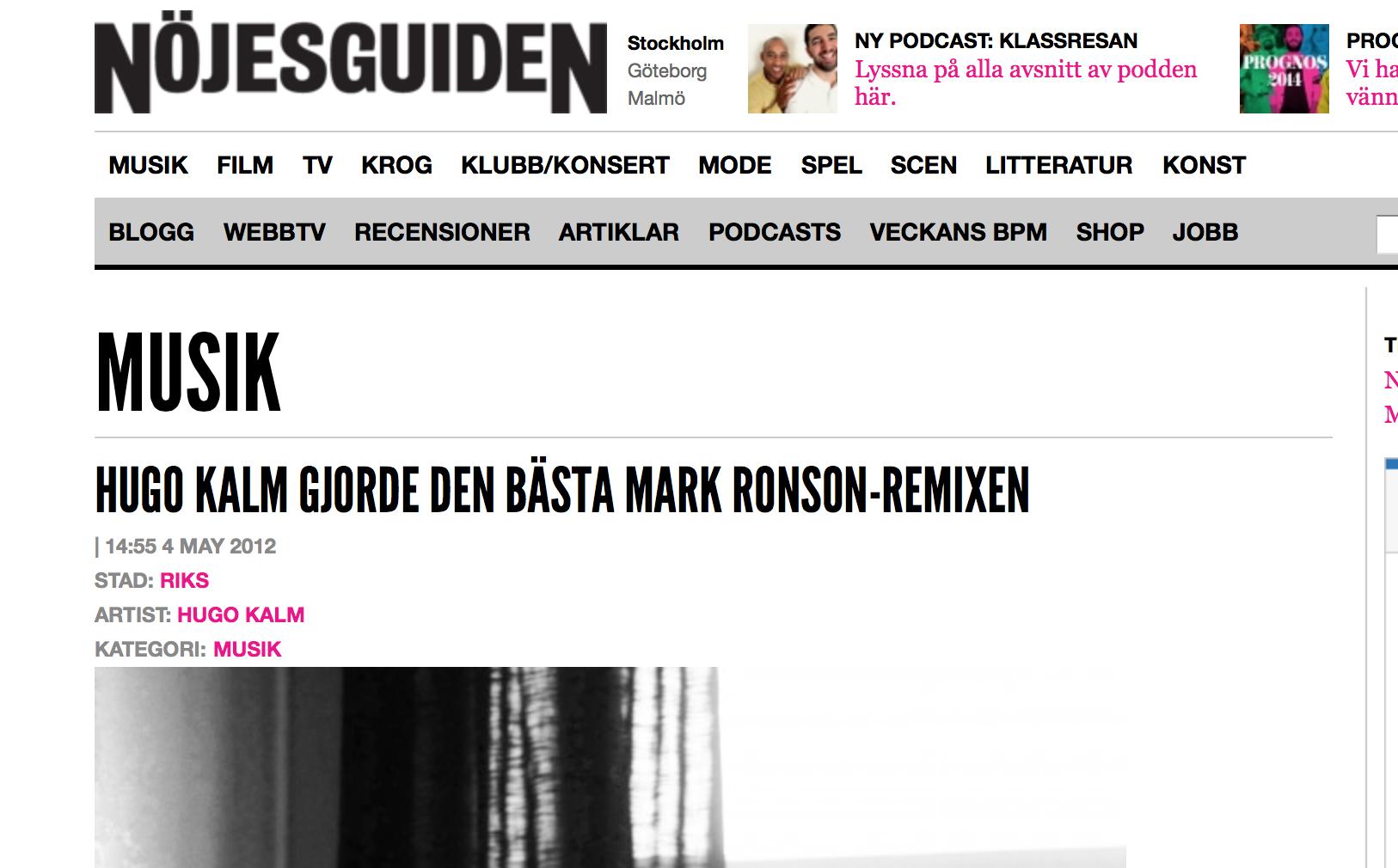 "Article in swedish magazine ""Nöjesguiden"""