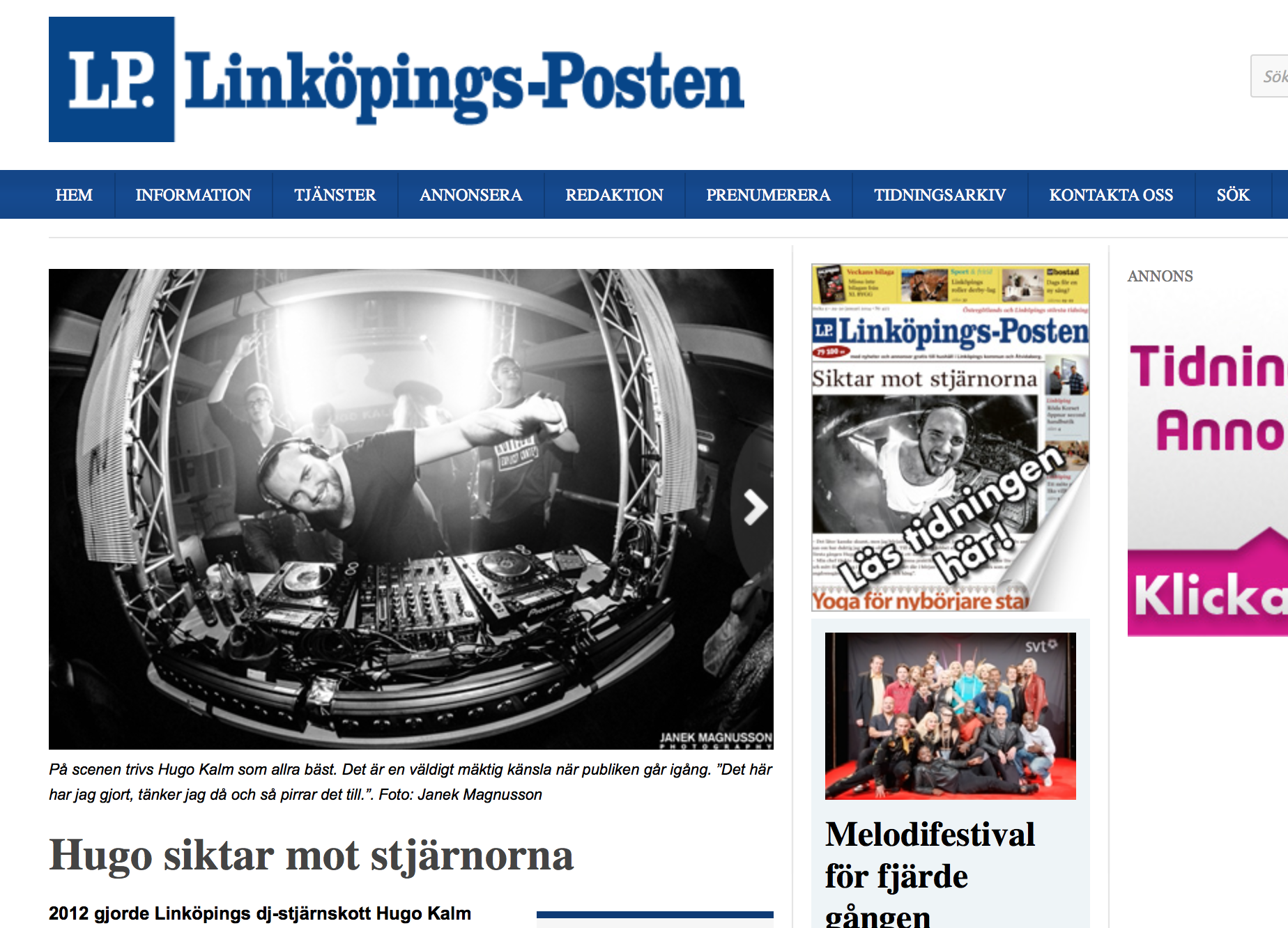 """Article and cover in local """"Linköpings-Posten"""""""