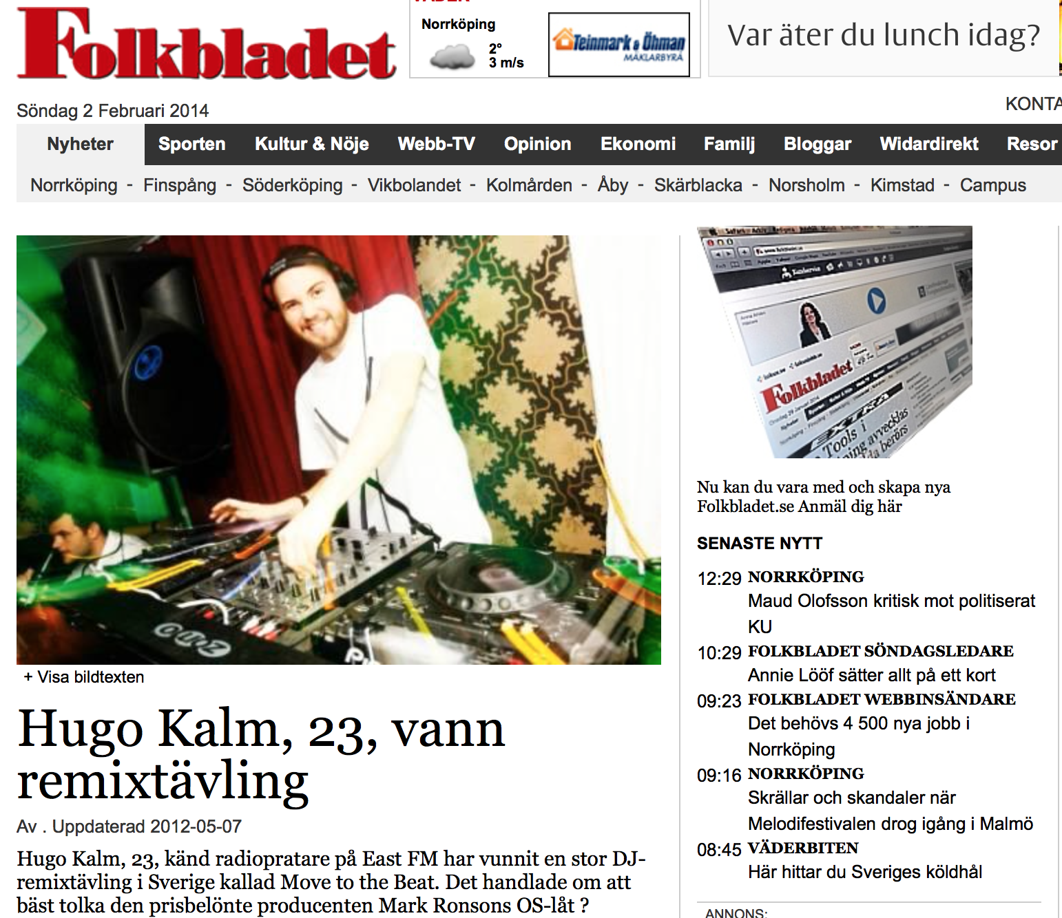 """Article in local """"Folkbladet"""""""