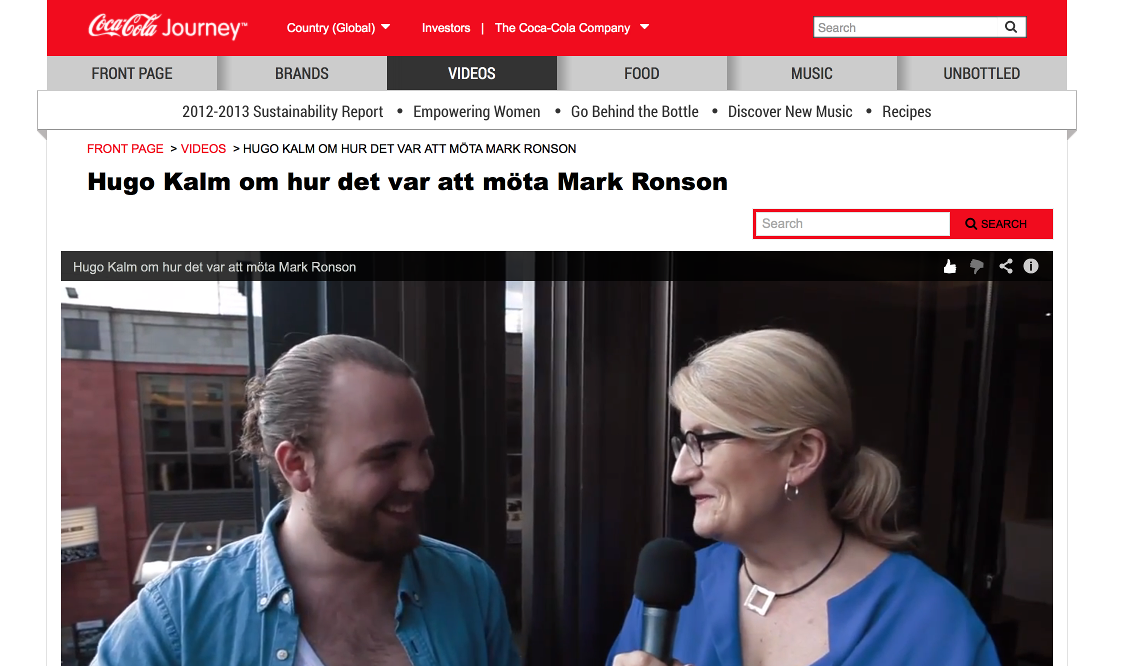 Video about meeting Mark Ronson, by Coca-Cola