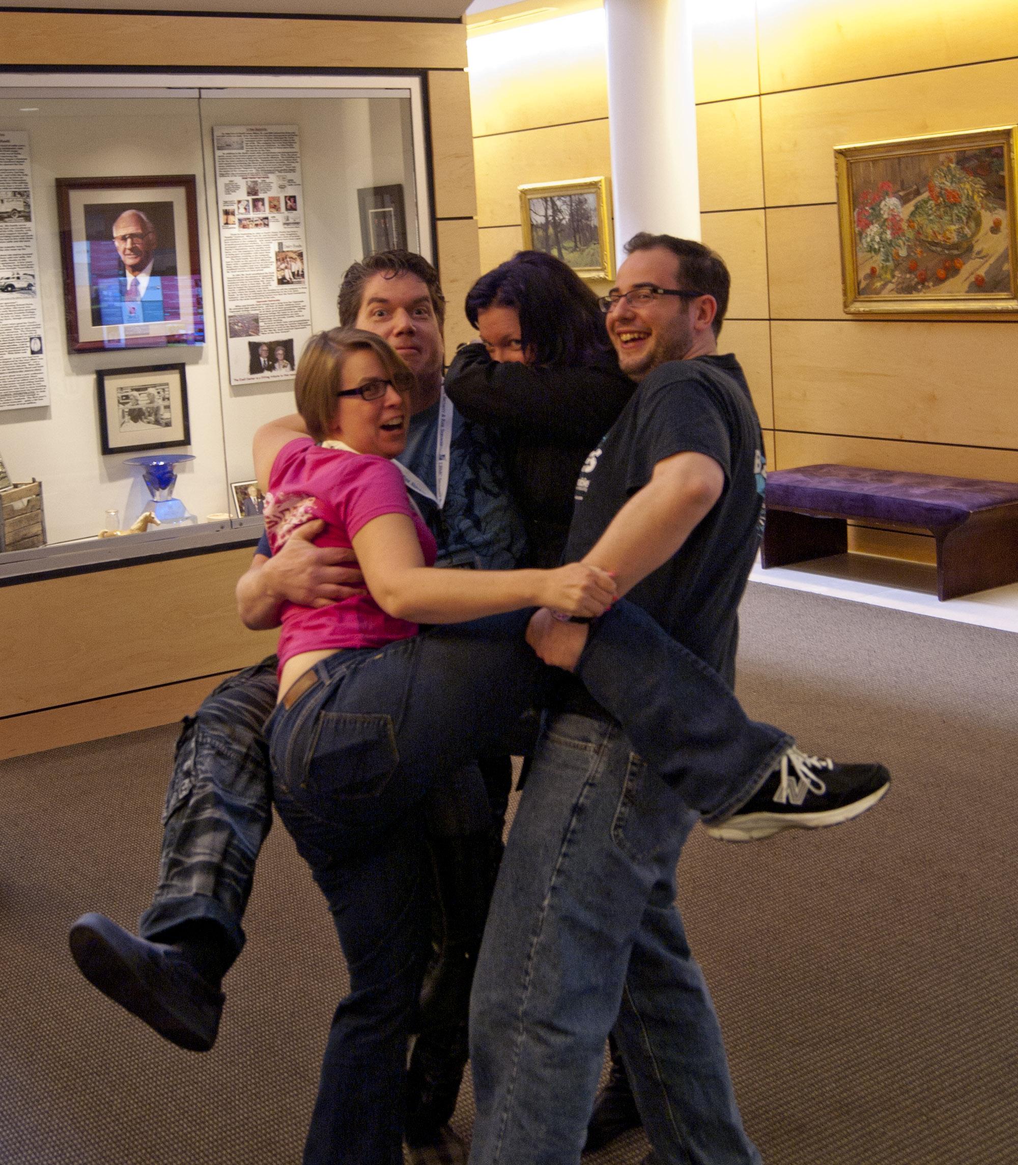 Group awkward hug