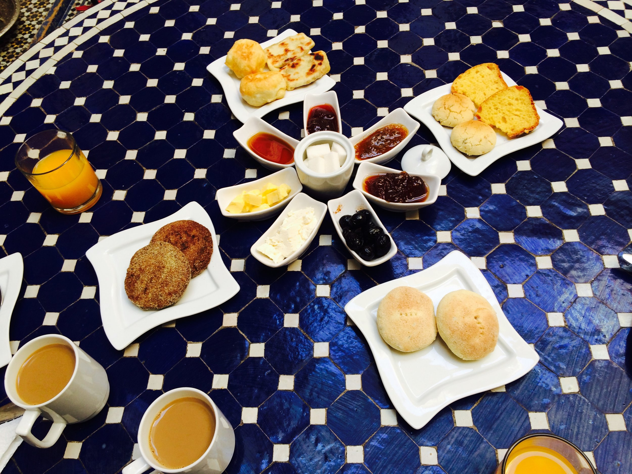 Our breakfast Spread at the Riad on day two