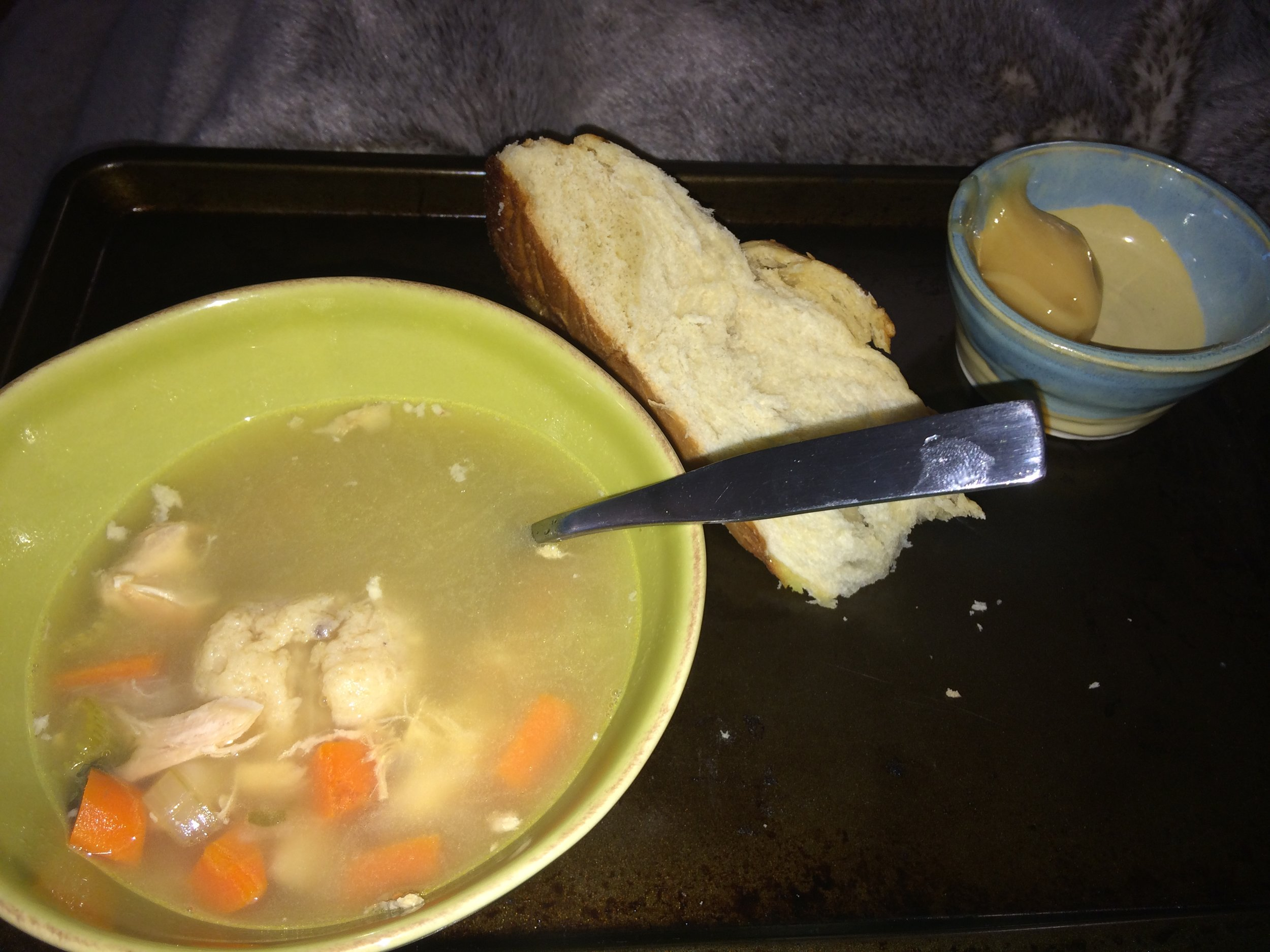 My mom stayed with us after I had hip surgery in August 2015, and of course made Matzo Ball Soup.