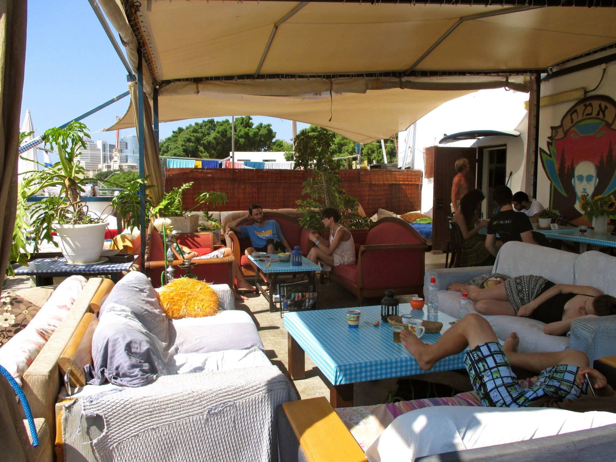 Florentine Hostel common area. We slept outside.