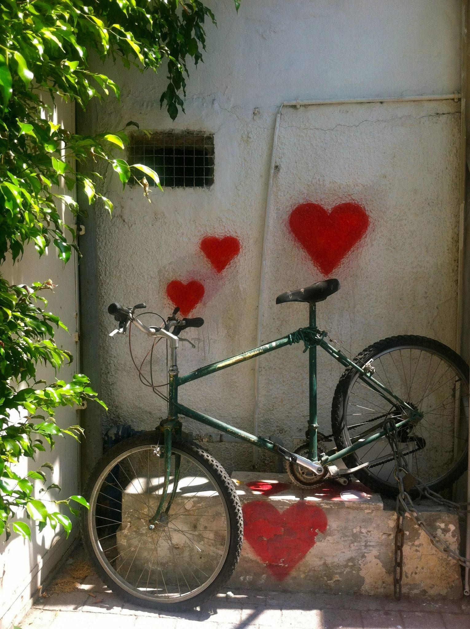 A bike propped along a wall in Tel Aviv