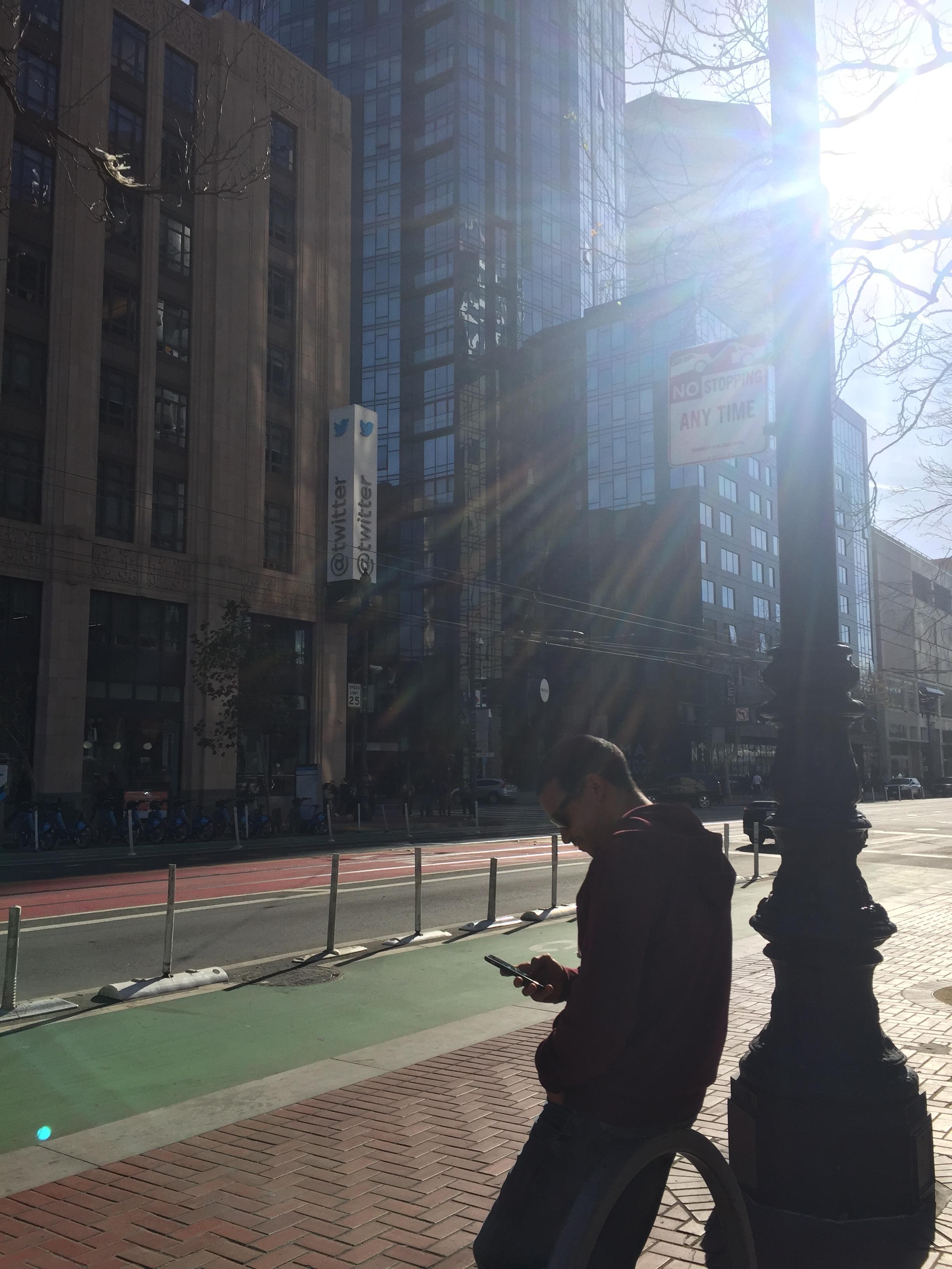 On Market Street, outside Twitter Headquarters