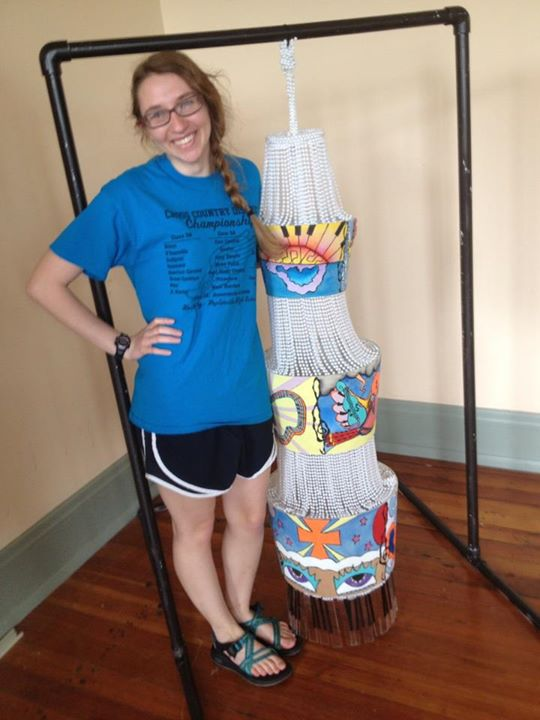 "Hours and hours of work later, ""Chandy"" was finally complete and hung for the art show we held."