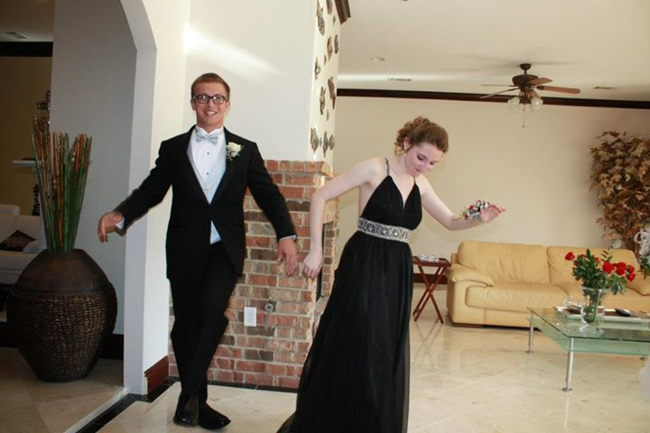 """My prom date and I doing our """"loony-goony                          dance."""""""