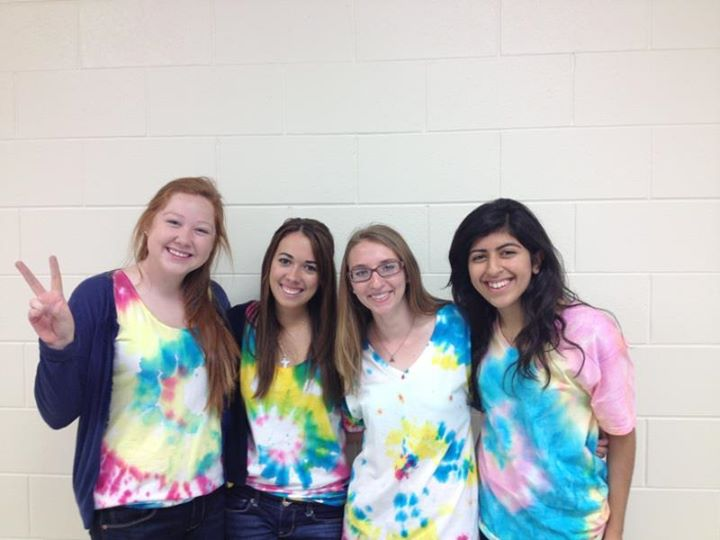 Sporting our tie-dye shirts