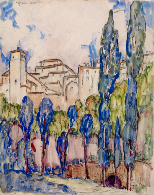 Marie Hull (1890-1980), Cuenca, Spain, circa 1930. watercolor and graphite on paper.                                                             Collection of Mississippi Museum of Art. Bequest of the artist.