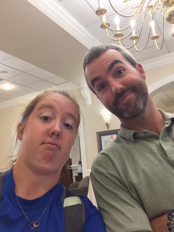 Here's a selfie I took just last week with Mike when I was hanging out in the Admissions Office. He's the real deal, just like my many chins.