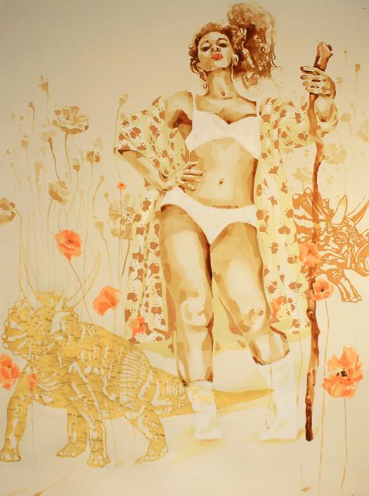 King (Femme Gold) 48x60 mixed media -Amaryllis Dejesus Moleski