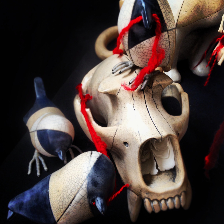 3 Shrikes and Bear Skull. Ceramic/Mixed Media. Cannupa Hanska 2014 Blue Rain Gallery