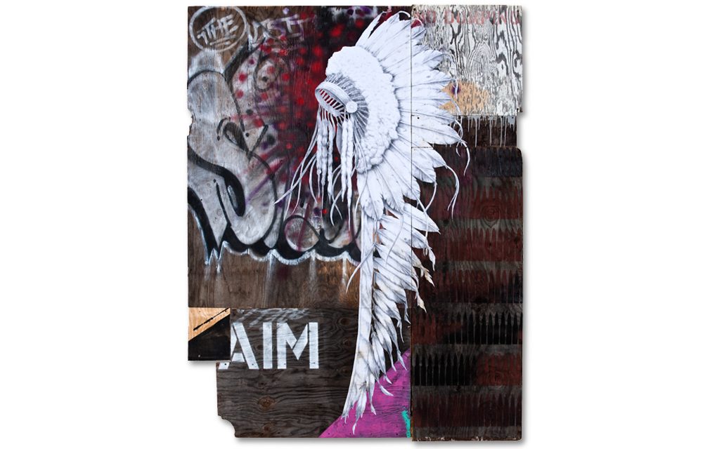 'Feather Merchant' mixed media. Jesse Hazelip