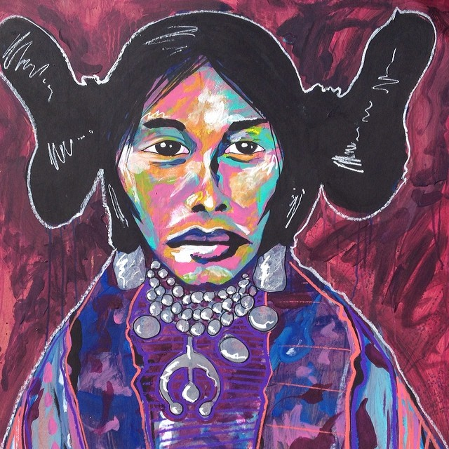 Hopi Girl. Painting by Cloud Face