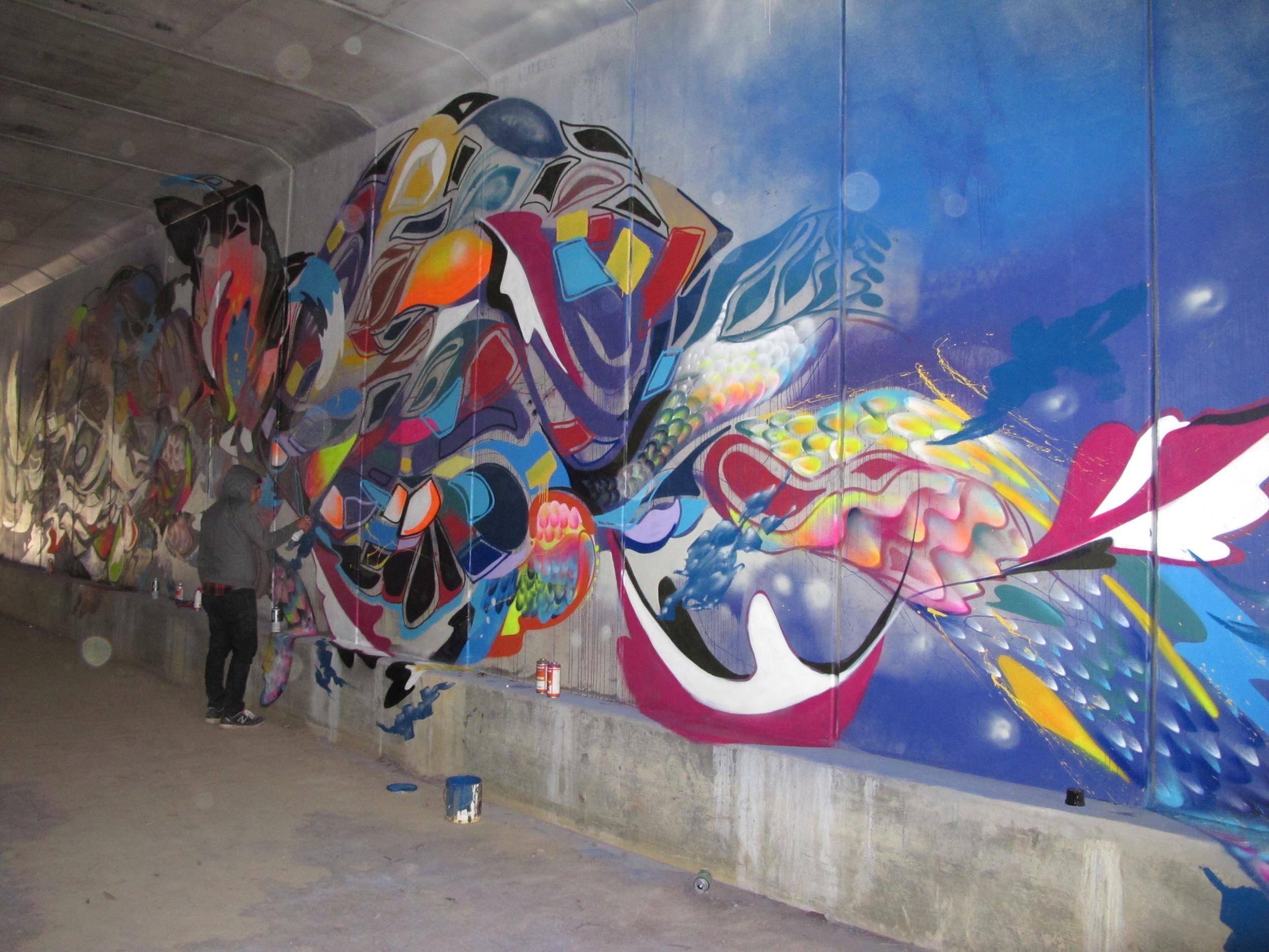 Large scale mural Melbourne, Australia 2013.  Yatika Starr Fields