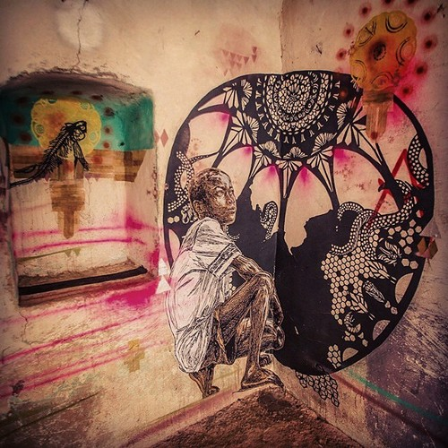 Collaborations in secret spaces, Tunisia. Monica Cnailao and Swoon