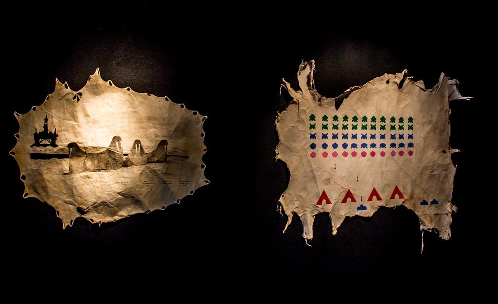 Natural Resource & Space Invader.Leornard Getinthecar (Nicholas & Jerrod Galanin). Hides, Ink, Paint. 2013