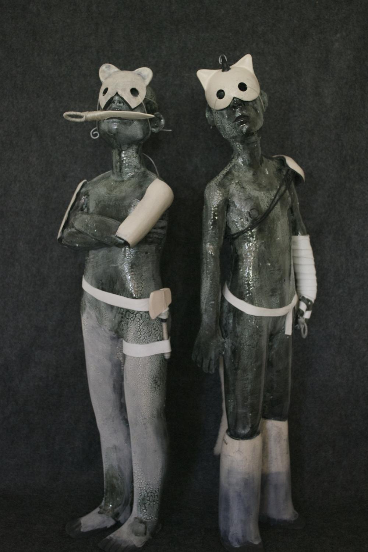 'Feline I & II',Ceramic, Leather. Cannupa Hanska