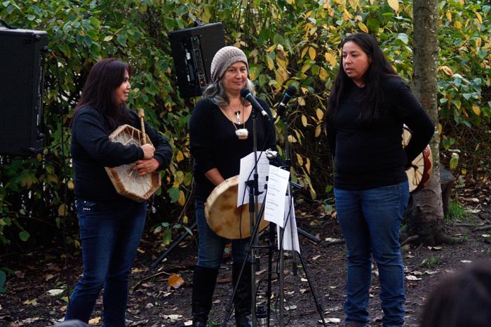 Ursula Johnson, Cease Wyss and Cassandra Smith #callresponse performance behind grunt gallery, Vancouver BC