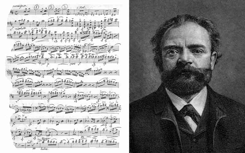 Dvořák's Cello Concerto manuscript photo courtesy of Robert A Williamson, Jr. Image of Dvořák courtesy of DAHA from The Century Magazine, September 1892.