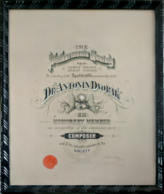 Image of Dvořák's New York Philharmonic Certificate, 1894. Photo by Eva Heyd, courtesy of Antonin Dvořák III & DAHA.
