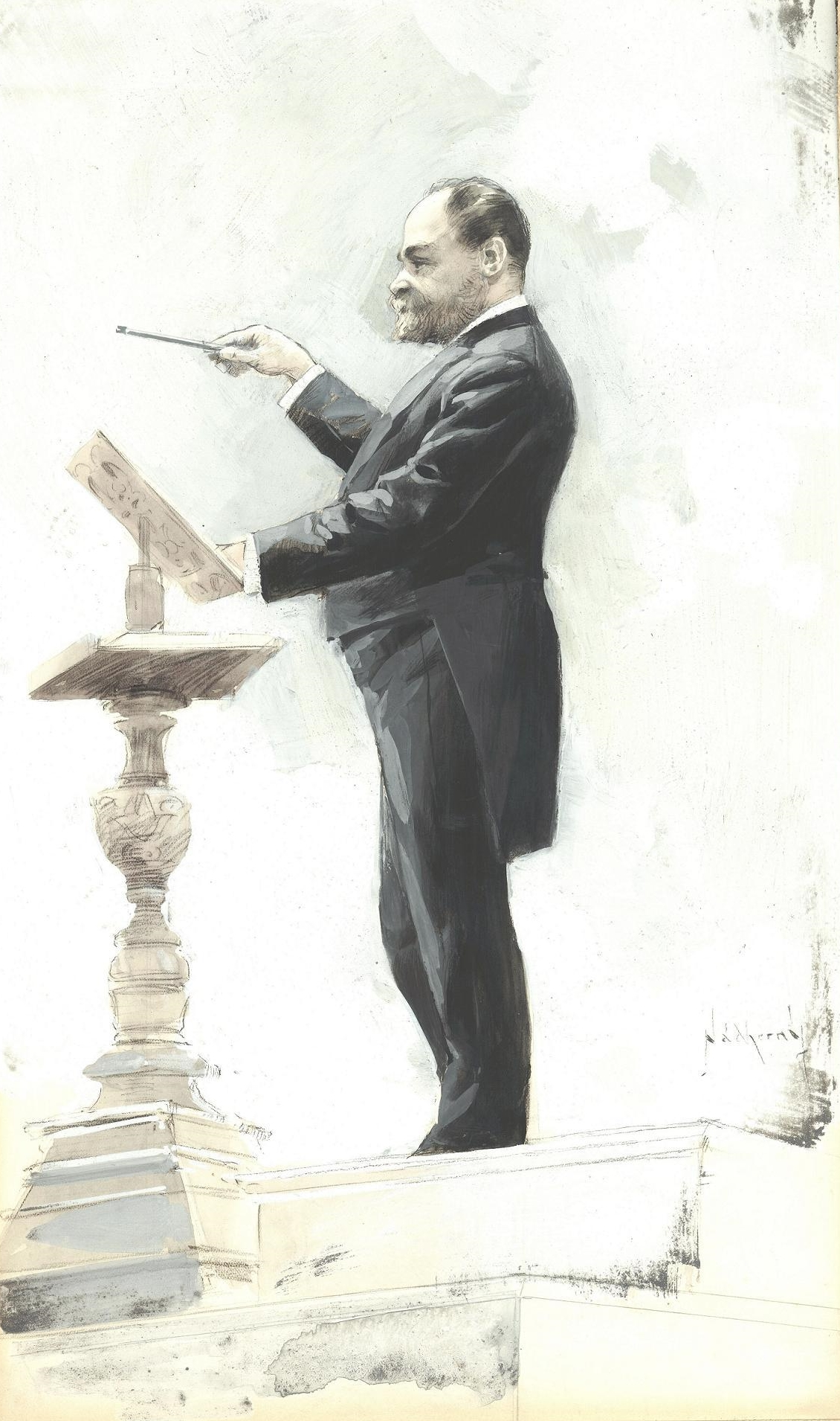 Dvořák conducting at the World's Columbian Exposition of 1893 in Chicago, by V. E. Nádherný.  Courtesy of National Museum – Czech Museum of Music – Museum of Antonín Dvořák, Prague.