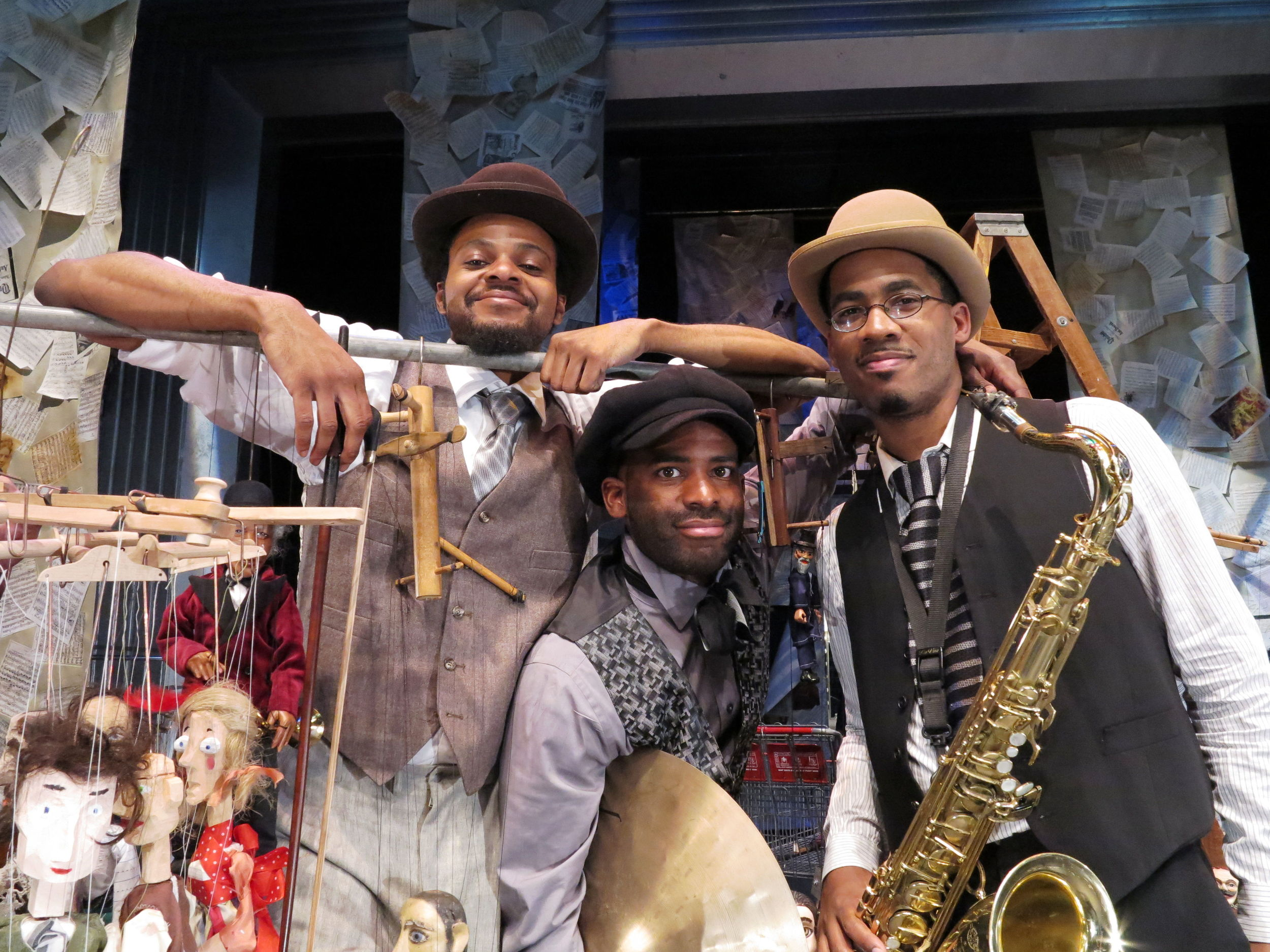 Luke Stewart (Bass), Warren Trae Crudup III (Percussion), James Brandon Lewis (Musical Director, Saxophone). Photo by Jonathan Slaff