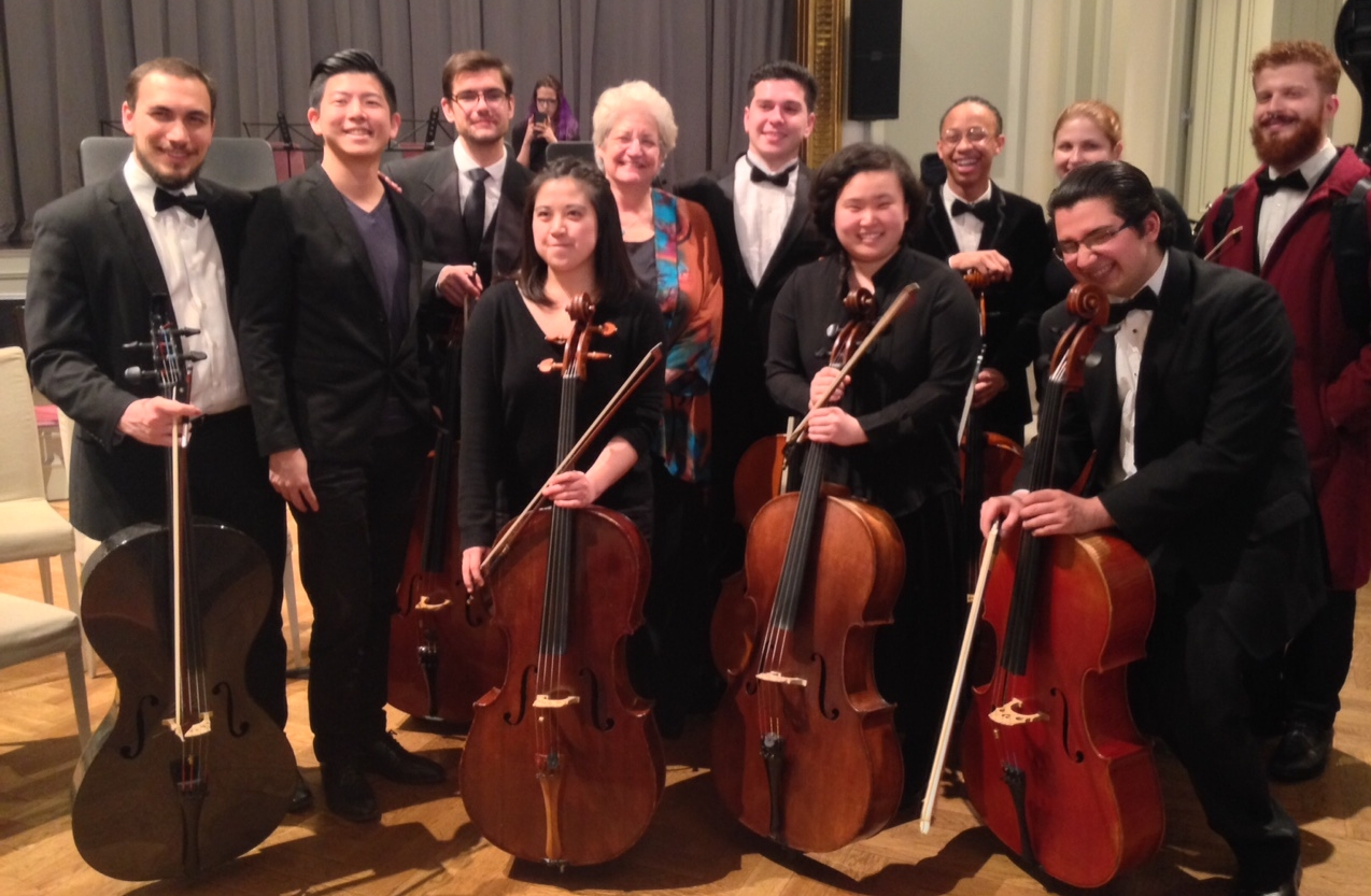 Cello soloist Marcy Rosen with cellists from the Aaron Copland School of Music.  Photo Credit: DAHA