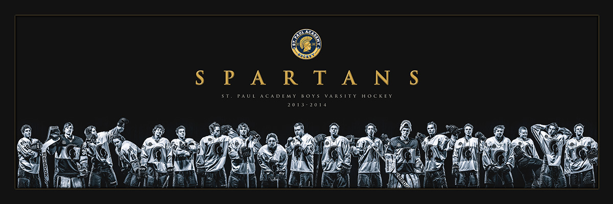 A custom art poster created for the St. Paul Academy Hockey team, 2013-2014. Measuring 10x30 inches, it was available for parents and players to purchase and a framed version hangs in the team's Hall of Fame trophy case.