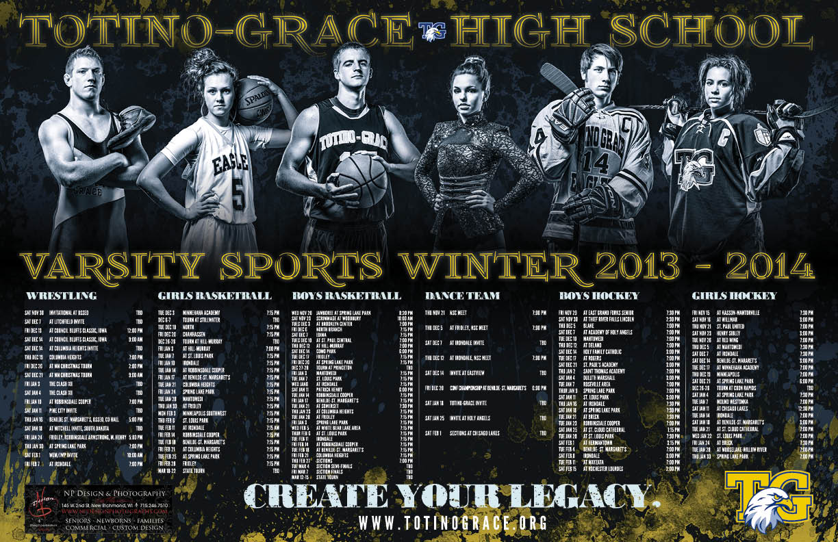Totino-Grace High School's Winter 2013-2014 Varsity Sports Poster