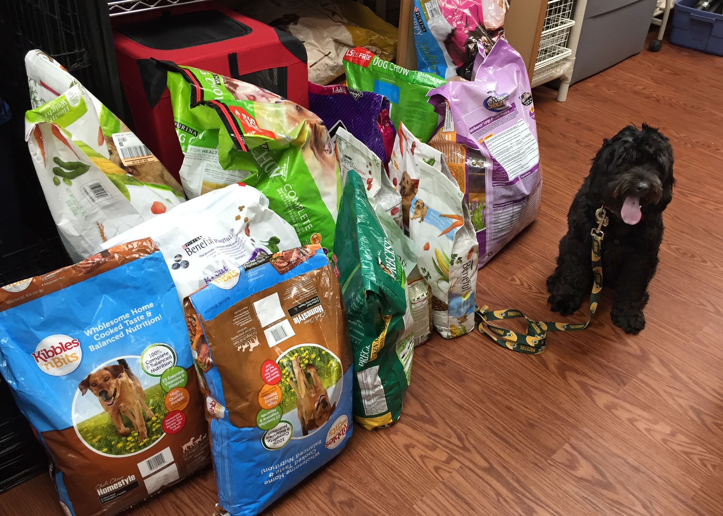 Melvin with all the pounds of food donated to Coco's Heart Dog Rescue.