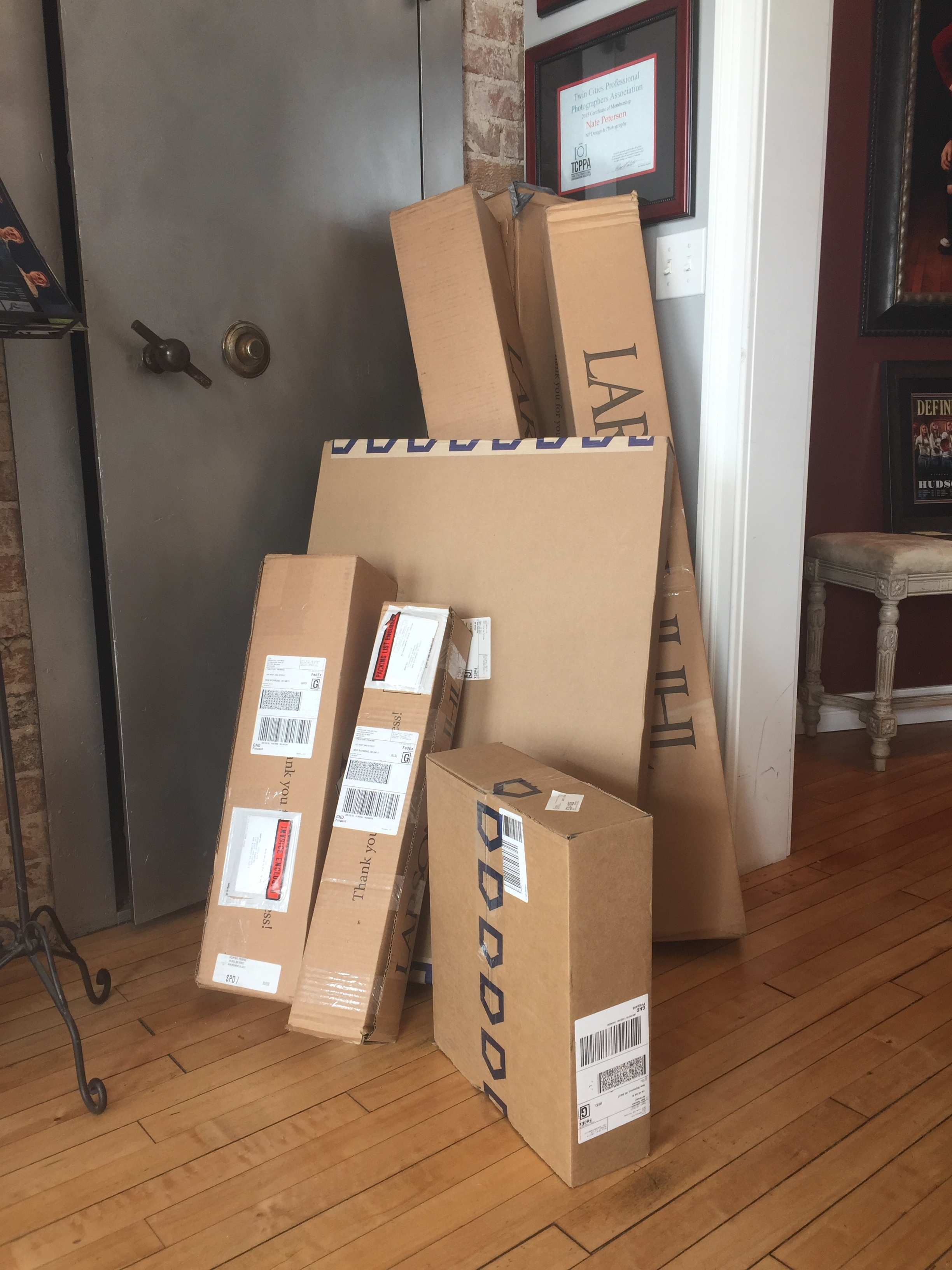 Our haul from the Fedex guy one day. He had to make four trips!