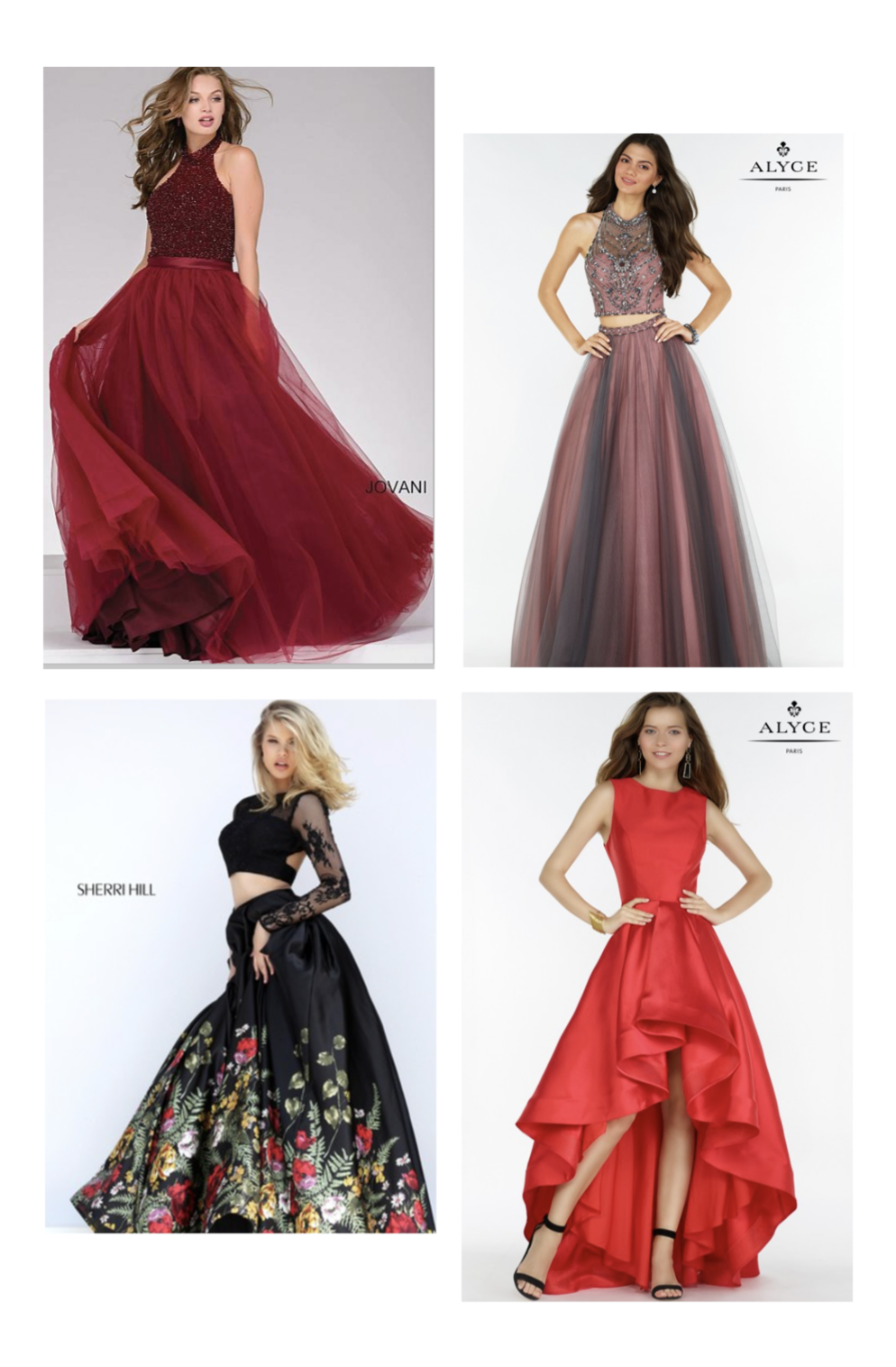 These styles by  Jovani , Sherri Hill  and  Alyce are available at  Our Shop .