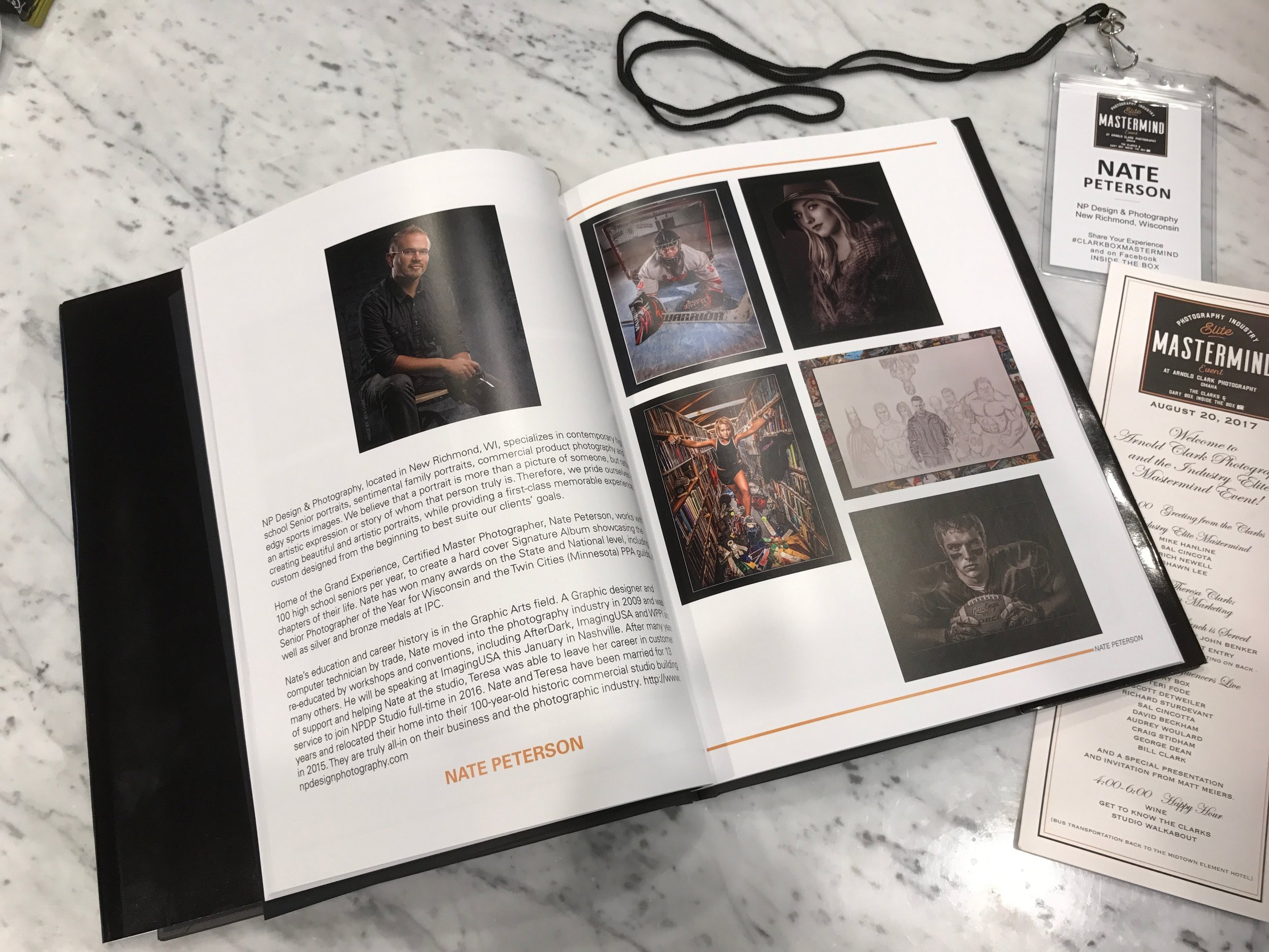 Nate's photography was featured in the 'Elite Masterminds' commemorative book.