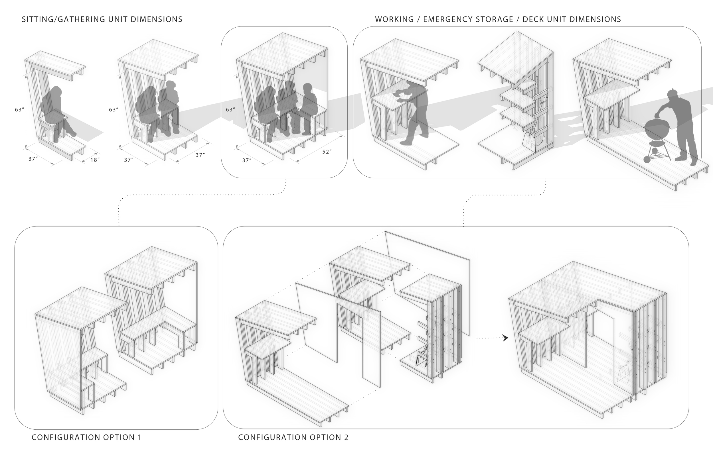 Some studies of dimensions and size requirements for various activities. Many configuration options are possible, two are shown here.