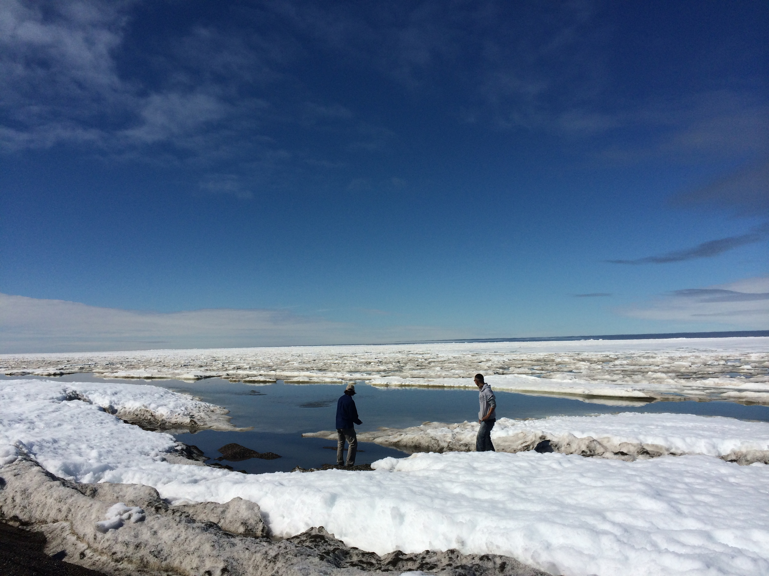 Nick and Anu skipping stones from the sea ice.