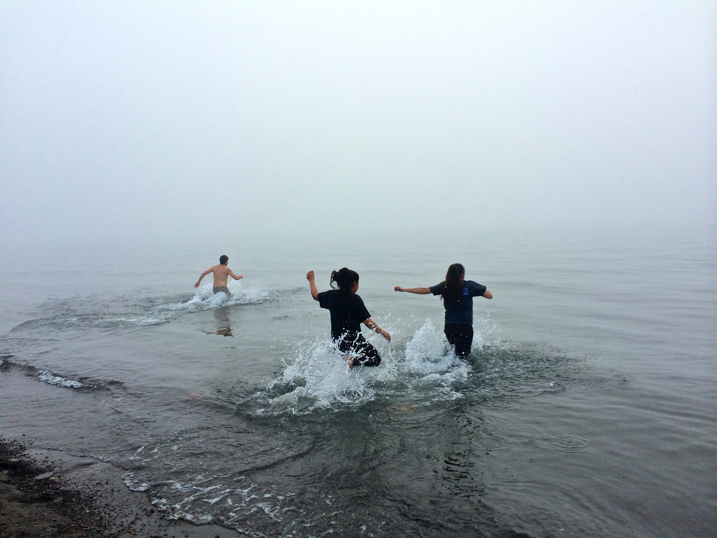 Frank, Yvonne, and Evelyn make the plunge.