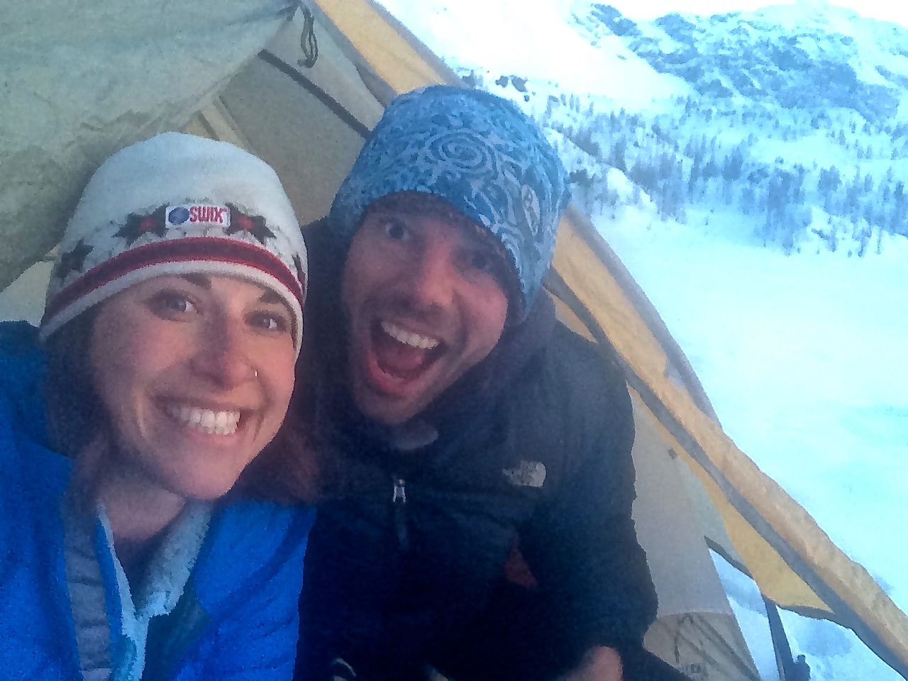 First time camping in the Alps in the winter... for both of us!