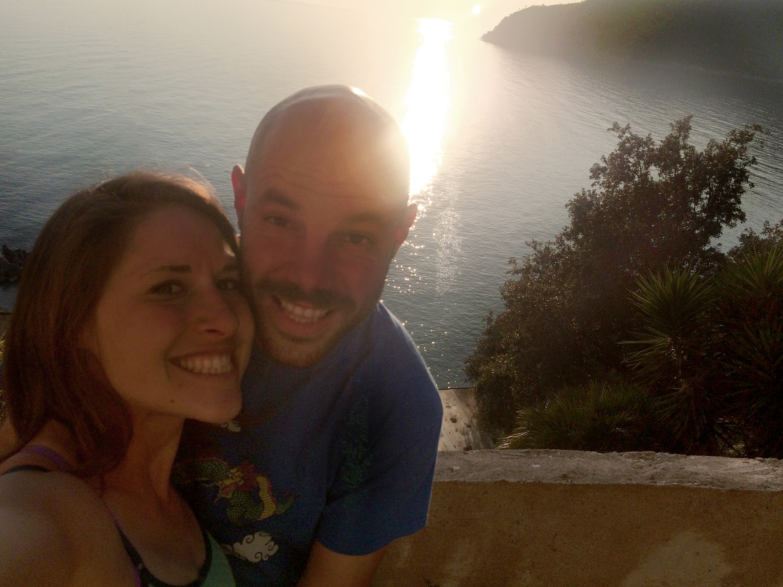 Enjoying the sunset above Moneglia.