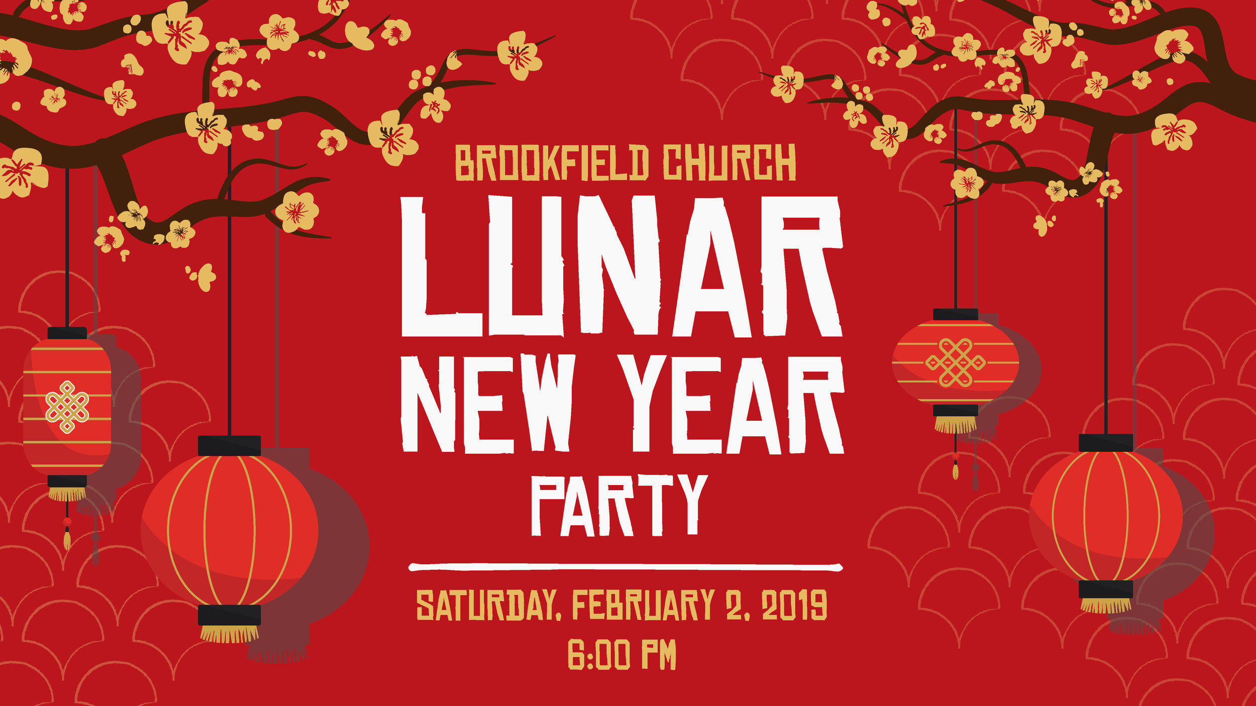 A promotional graphic for a Lunar New Year party for international students. Used online and printed as postcards.