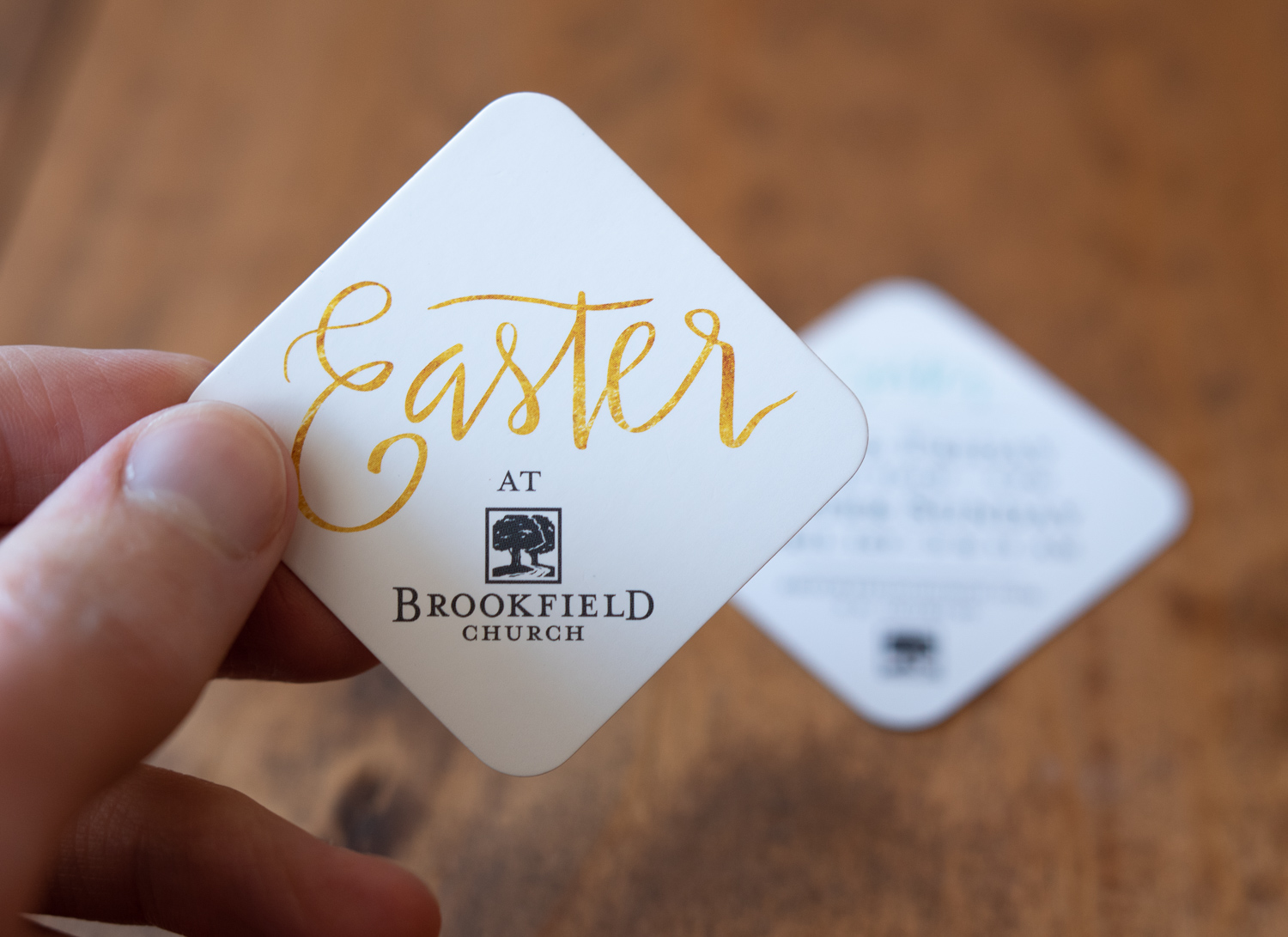 Invitation cards for Easter services at Brookfield Church in Athens, OH.