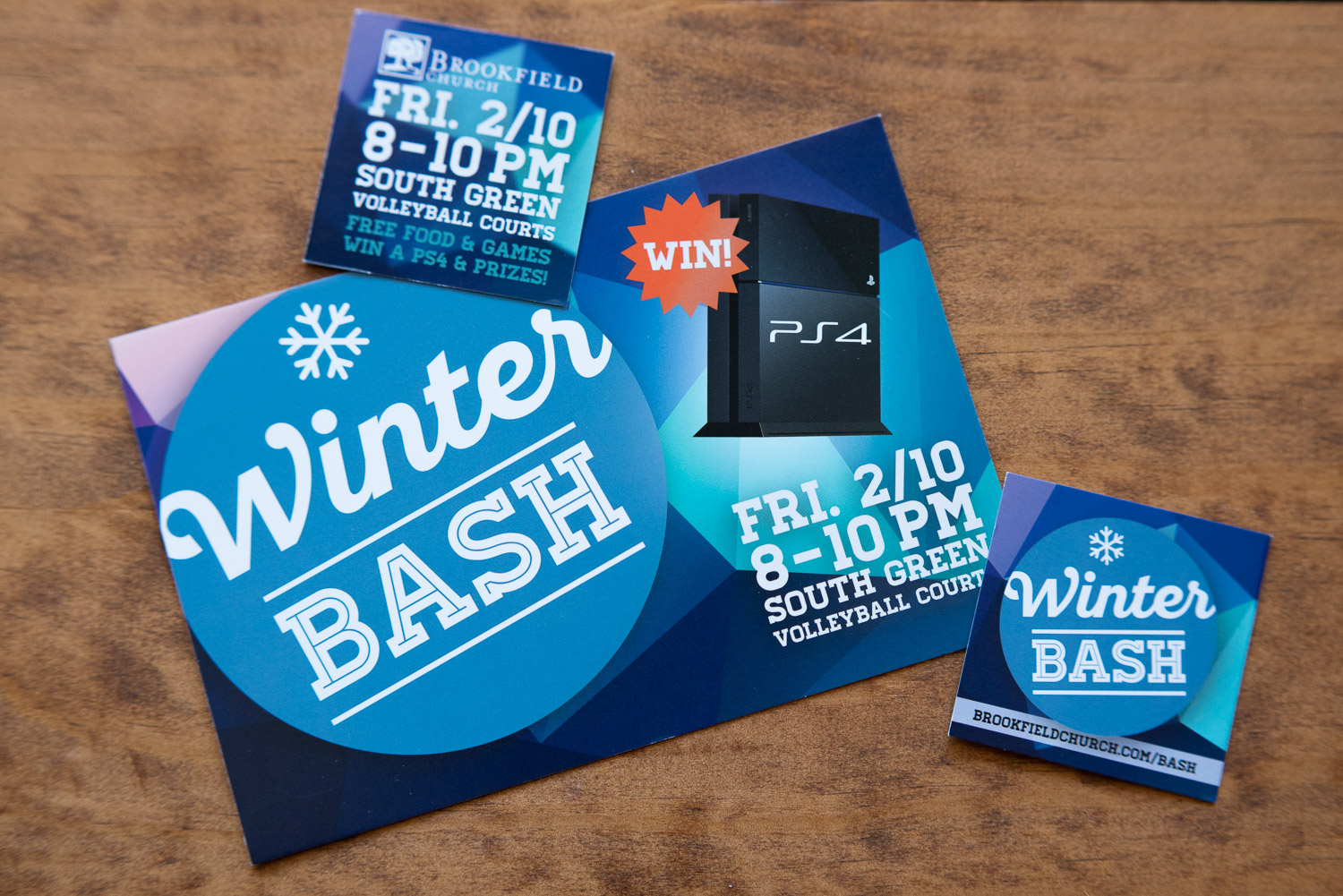 Postcard and invitation cards for a winter party for college students.