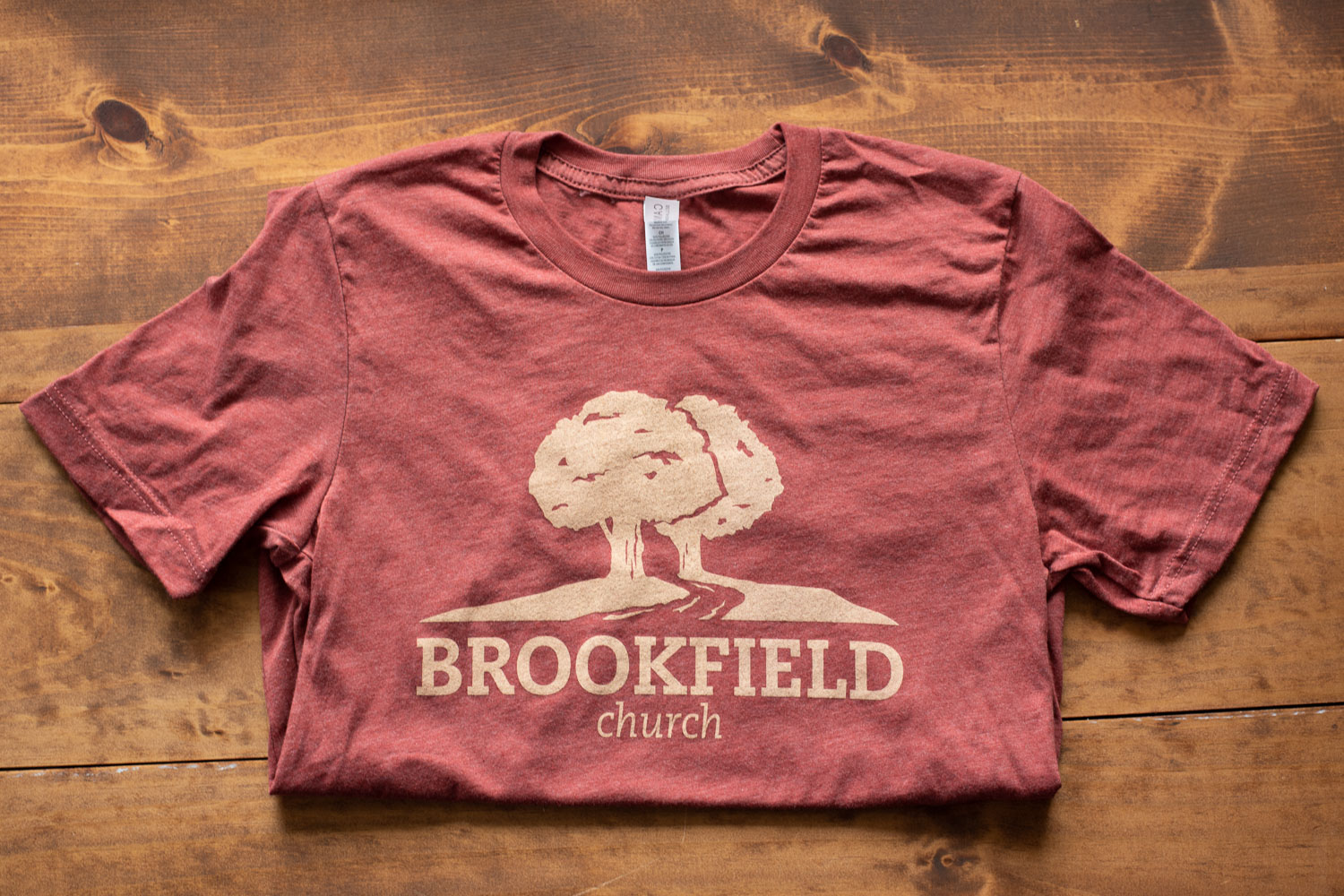 A t-shirt with an alternative logo for Brookfield Church in Athens, Ohio.