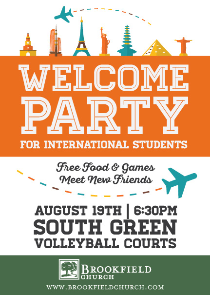 Promotional graphic for a party for international students. Used online including social media ads and postcards.